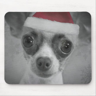 Christmas Funny Chihuahua Puppy with Santa Hat Mouse Mat