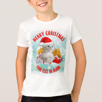 Christmas Funny Cute Kitty Cat With Cool Santa Hat T-Shirt
