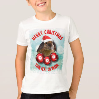 Christmas Funny Cute Rabbit Bunny In Red Santa Hat T-Shirt
