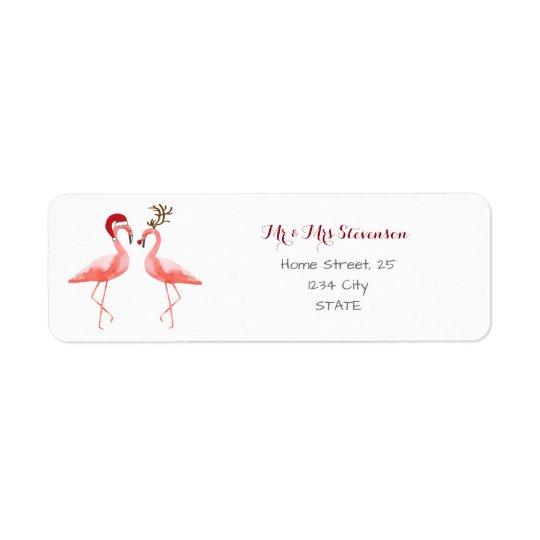 Christmas funny flamingos personalised return address label