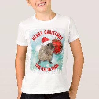 Christmas Funny Hamster Snowflakes Red Santa Hat T-Shirt