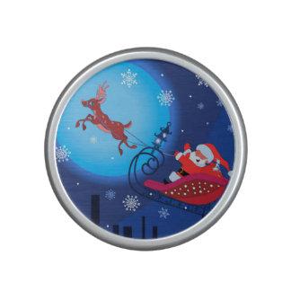 Christmas funny illustration. Santa with Rudolf Bluetooth Speaker