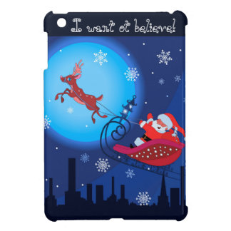 Christmas funny illustration. Santa with Rudolf Case For The iPad Mini