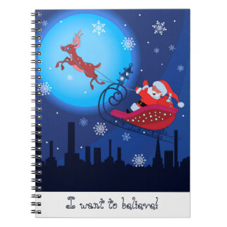 Christmas funny illustration. Santa with Rudolf Notebooks