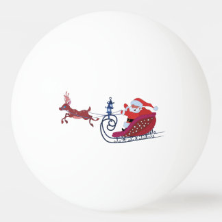 Christmas funny illustration. Santa with Rudolf Ping Pong Ball