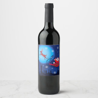 Christmas funny illustration. Santa with Rudolf Wine Label