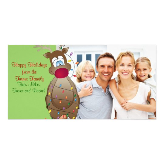 Christmas Funny Reindeer Family Photo Card