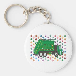 Christmas Garbage Truck December Basic Round Button Key Ring
