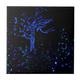 Christmas Garden Glow Small Square Tile