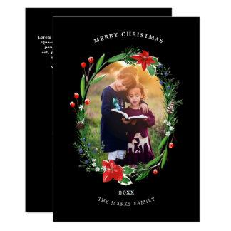 Christmas Garland Pines Berries Juniper Photo Card