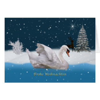 Christmas, German Language, Snowy Night with Swan Greeting Card