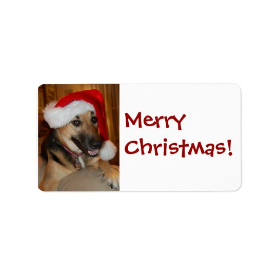 Christmas German Shepherd Label