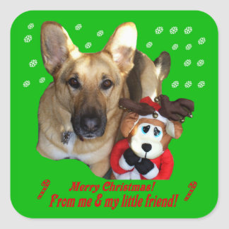 Christmas German Shepherd & Toy Reindeer Stickers