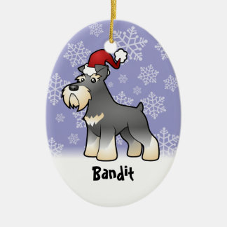 Christmas Giant/Standard/Miniature Schnauzer Ceramic Oval Decoration