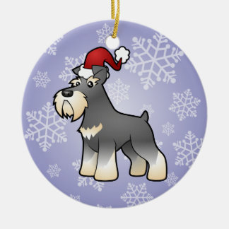 Christmas Giant/Standard/Miniature Schnauzer Round Ceramic Decoration