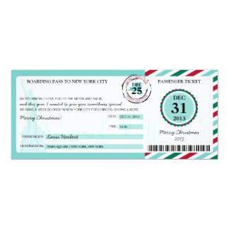 Christmas Gift Boarding Pass to NEW YORK 10 Cm X 24 Cm Invitation Card
