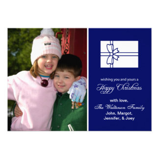 Christmas Gift Box Card Happy Christmas Navy Blue Announcements