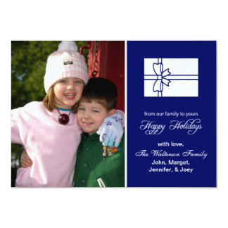 "Christmas Gift Box Card (Happy Holidays Navy Blue) 5"" X 7"" Invitation Card"