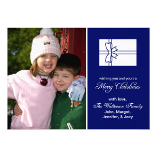 Christmas Gift Box Card Merry Christmas Navy Blue Personalized Invitation