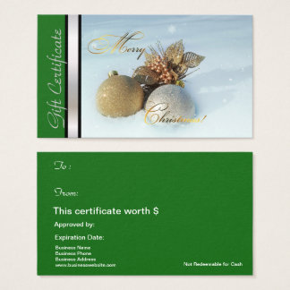 Christmas Gift Card Certificate Green Silver