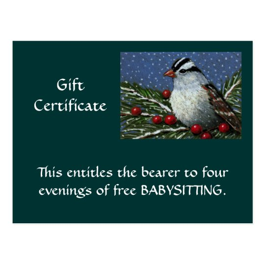 CHRISTMAS GIFT CERTIFICATE: ARTWORK: BIRD POSTCARD