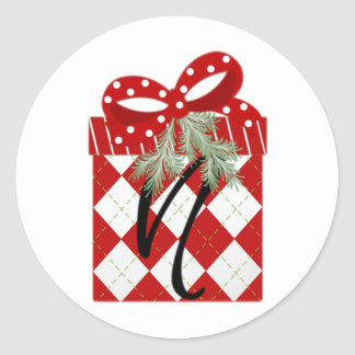 Christmas Gift Initial  N Round Sticker