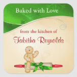 Christmas Gift Label Gingerbread Man Square Sticker