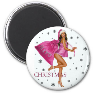 CHRISTMAS GIFT PERSONALIZE IT HOLIDAYS 6 CM ROUND MAGNET