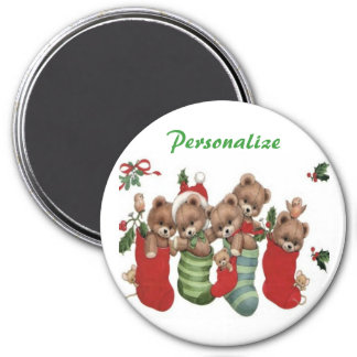 CHRISTMAS GIFT PERSONALIZE IT HOLIDAYS 7.5 CM ROUND MAGNET