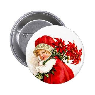 Christmas Gift Set Vintage Girl with Poinsettias 6 Cm Round Badge