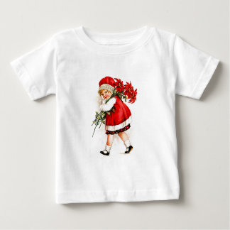 Christmas Gift Set Vintage Girl with Poinsettias Baby T-Shirt