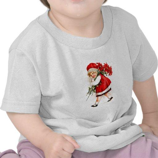 Christmas Gift Set Vintage Girl with Poinsettias Shirts