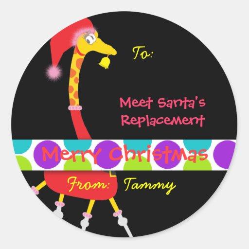 Christmas Gift Sticker (Giraffe) - Customizable