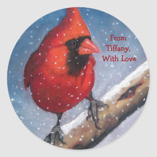 CHRISTMAS GIFT STICKERS: RED CARDINAL, SNOW, ART CLASSIC ROUND STICKER
