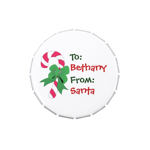 Christmas Gift Tag Candy Cane with Green Ribbon Candy Tins