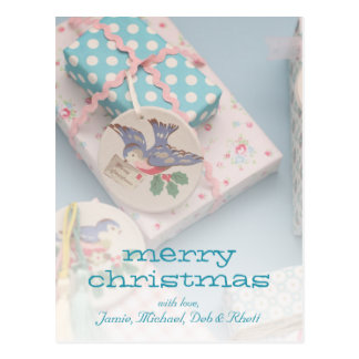 Christmas gift tag postcard