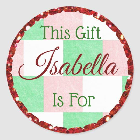 Christmas Gift Tag Red Green Personalised Name