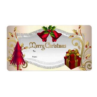 Christmas Gift Tag Red White Xmas