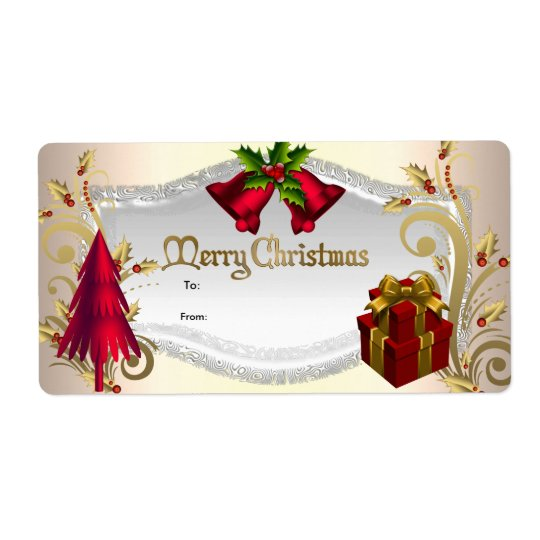 Christmas Gift Tag Red White Xmas Shipping Label