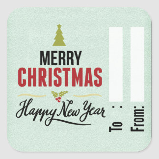 Christmas gift tag square sticker