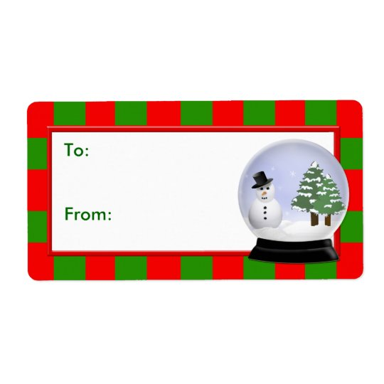 Christmas Gift Tag, Stripes with Snowman Snowglobe Shipping Label