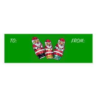Christmas Gift Tags - Chocolate Santa's Pack Of Skinny Business Cards