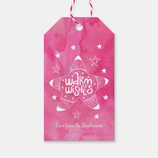 Christmas gift tags pink watercolour warm wishes