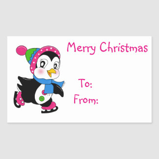 Christmas Gift Tags/Rectangle Stickers/Penguin Rectangular Sticker