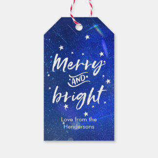 Christmas gift tags starry merry and bright