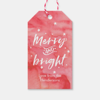 Christmas gift tags watercolor merry and bright