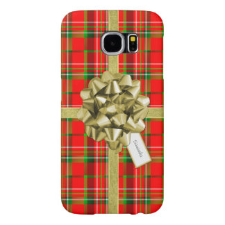 Christmas Gift Wrapped in Red Tartan and Ribbons Samsung Galaxy S6 Cases