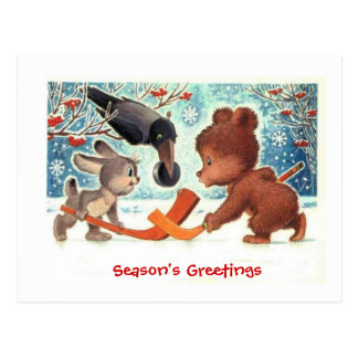 Christmas gifts, Animals playing ice hockey Postcard