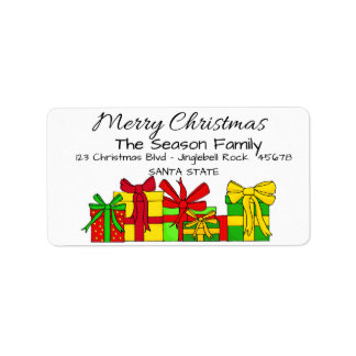 Christmas gifts  Merry Christmas  address label