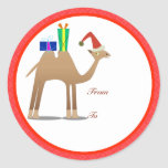Christmas Gifts Tags: Camel Round Sticker